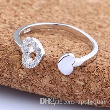 Кольца в форме сердца из чистого серебра 925 пробы для женщин любят кристалл диаманта lucency регулируемая мода подруга подарок на день рождения новый 6 шт.