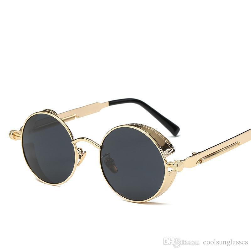 7ee8cb3dc90cd Compre Marca De Luxo Óculos De Sol Para Homens Redondos Óculos De Sol Das Mulheres  Designer De Marca De Metal Armação Steampunk Vintage Óculos De Sol Dos ...