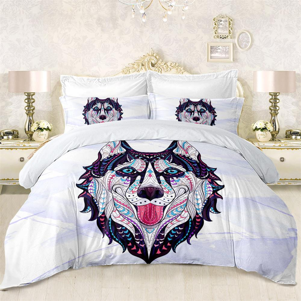 Colorful Husky Dog Bedding Set Geometric Animal Print Duvet Cover Twin Full  Queen King Bed Cover Patchwork Pillowcase D25 Bedding Sets Cheap Bedding  Sets ...