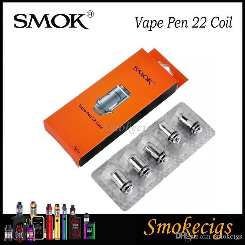 SMOK Vape Pen 22 bobine 0.3 0.25ohm X4 Bobine di ricambio bobina SMOK Vape Pen 22 Kit Vape Pen Tank 100% originale Vapor Chaser confezione
