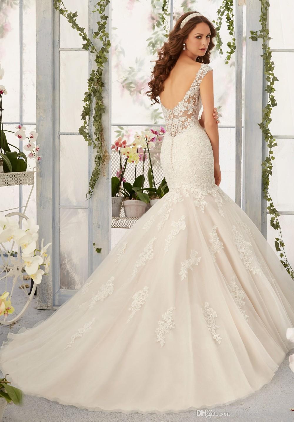 2018 Новая Весна На Заказ Классический Современный Стиль Аппликации Милая Органза Русалка Свадебное Платье Свадебные Платья