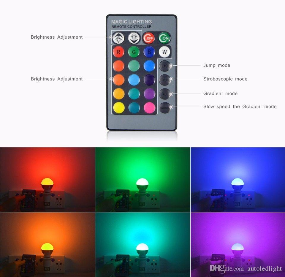 rgbw rgb + white e27 e26 e14 led bulbs light 5w rgb led lights for christmas lighting + ir remote contorl