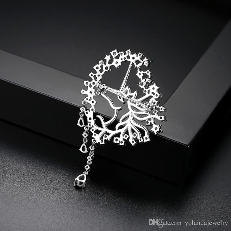 New Fashion Trendy Men Women Pins Brooches White Gold Plated CZ Unicorn Brooch Pins for Men Women for Party Wedding