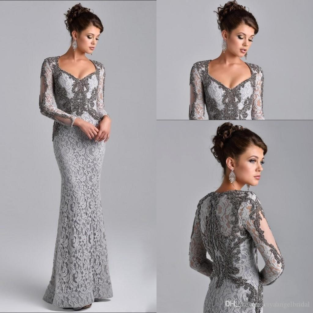 47a84bd699a5d Elegant Long Sleeve Silver Gray Formal Evening Gowns 2019 Beaded Lace  Mermaid Long V Neck Arabic Prom Party Mother of the Bride Dresses