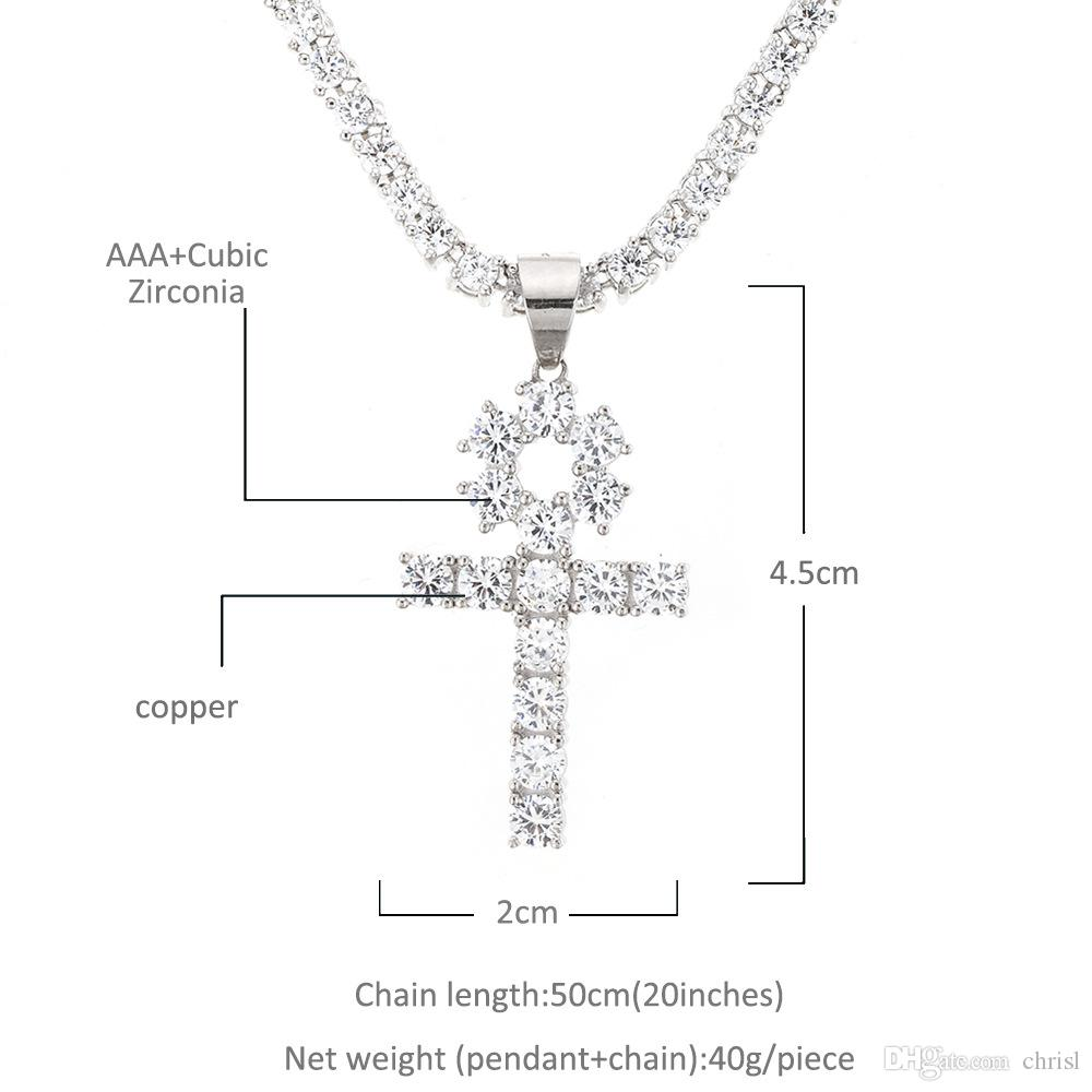 Gold Silver Color Plated Iced Out Zircon Ankh Cross Pendant Necklace with Tennis Chain Set Men Hip Hop Jewelry