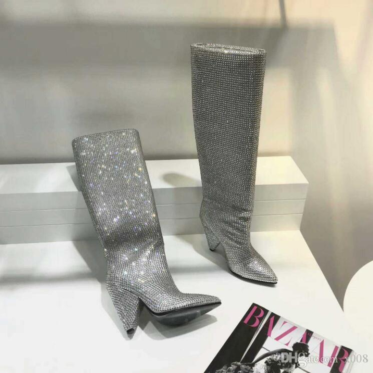 2018 Newest Luxury Crystal Women Pointy Toe Knee High Boots Sexy Chunky Heel Boots Slip On Ladies Knight Boots Rhinestone Shoes Woman