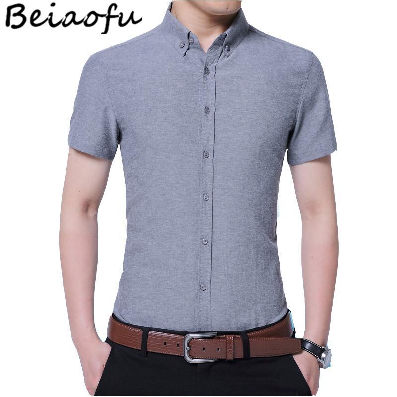 94624efb805 2019 Beiaofu High Quality Men Formal Shirt Short Sleeve Plain Color  Business Dress Shirt Summer Slim Fit Uniform Tees From Karel