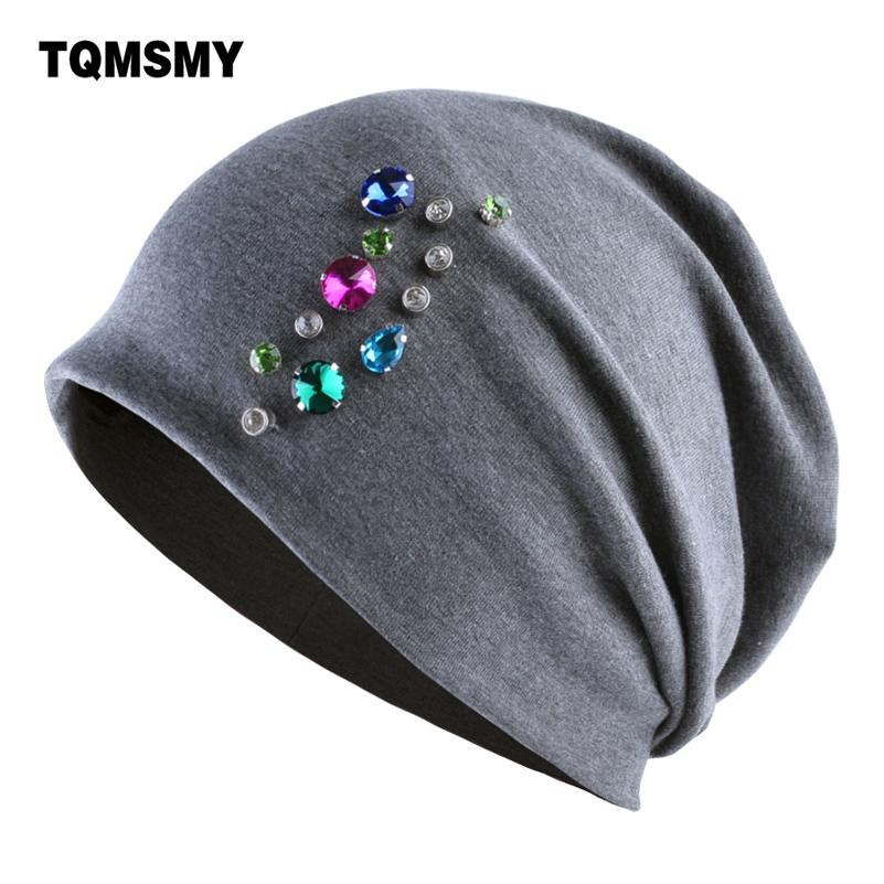 90ac94c923f Rhinestone Hats For Women Winter Beanies Autumn Casual Cotton Hat Ladys Caps  Girls Double Layer Skullies Bone Gorro Turban Cap Stetson Hats Trilby From  ...