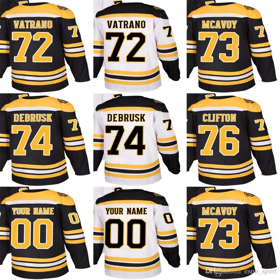 2018 New Brand Adults Boston Bruins 72 Frank Vatrano 73 Charlie McAvoy 74  Jake DeBrusk 76 Connor Clifton Hockey Jerseys Accept Custom 76 Connor  Clifton ... 8357cf8d1