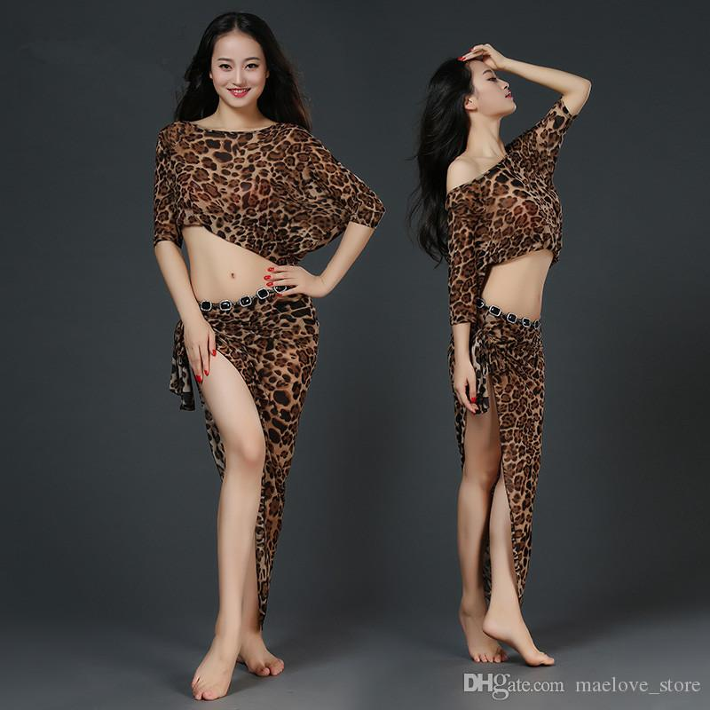 bd4ea4023 2019 Women Professional Belly Dance Clothes Fashion Leopard Printing ...