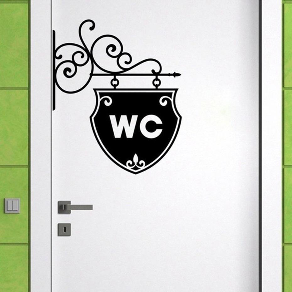 Großhandel WC Zitate Tür Aufkleber Vintage Badezimmer Dekor Wc Tür ...