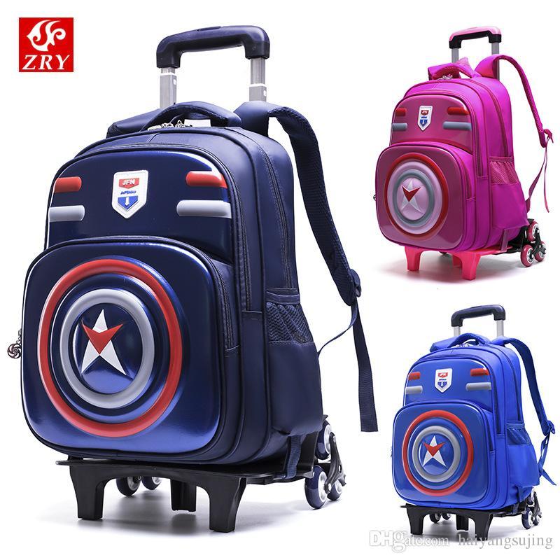 Luggage 2 6 Wheels Children School Bags Wheeled Backpacks Design Trolley  Suitcase Kids Detachable Travel Waterproof Schoolbag Backpack Cheap  Backpacks ... 182d956c50
