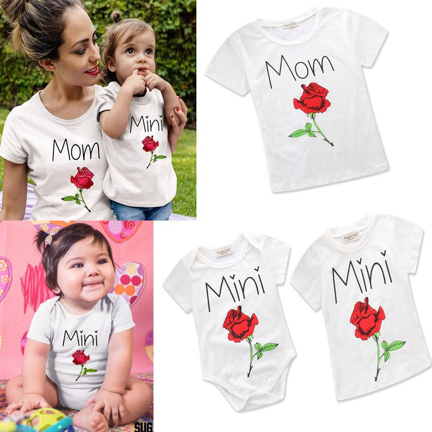 13a9d8e91201 2019 Family Clothing Mother Daughter Summer Short Sleeve T Shirt Rose Printing  Mom Mini Letter Baby Romper Family Look Matching Clothes Parent From ...
