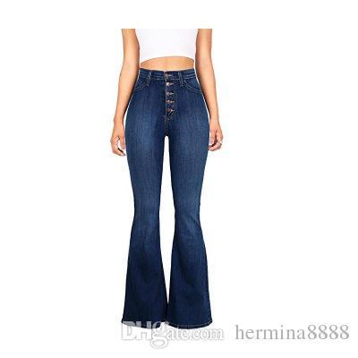 0b7325580ca147 2019 Women Flared Jeans High Waist Elegant Retro Style Bell Bottom Skinny  Denim Pants Female Sexy Casual Wide Leg Jeans From Hermina8888, $43.32 |  DHgate.