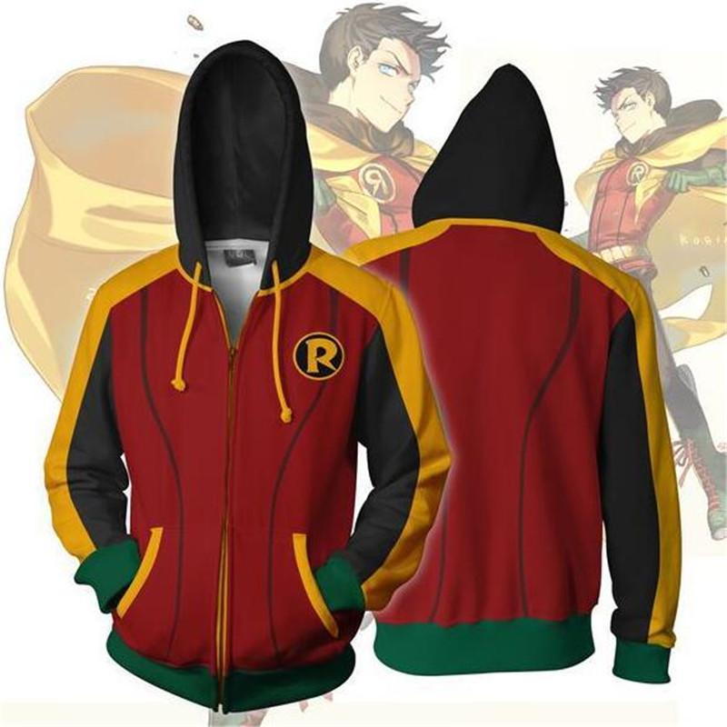 new product 312b8 0dbc7 American DC Cartoon Anime Robin Fashion Print Felpa con cappuccio Felpa con  cappuccio per uomo e donna di grandi dimensioni
