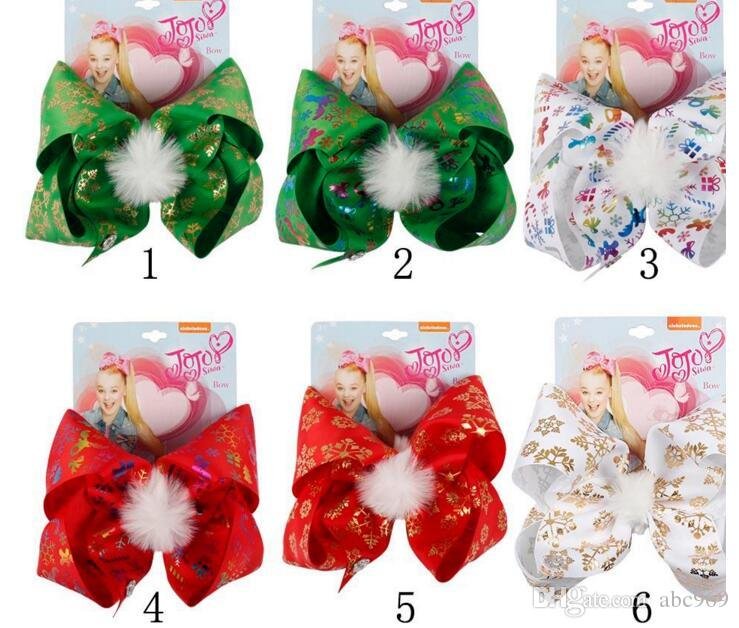 7   Pompom Christmas Hair Bows Printed Snow Gifts Large Hair Clips Girls  Festival Winter Santa Twinkle Bells Dog Fashion Hair Accessories Cute Hair  ... 0509ebf0cde