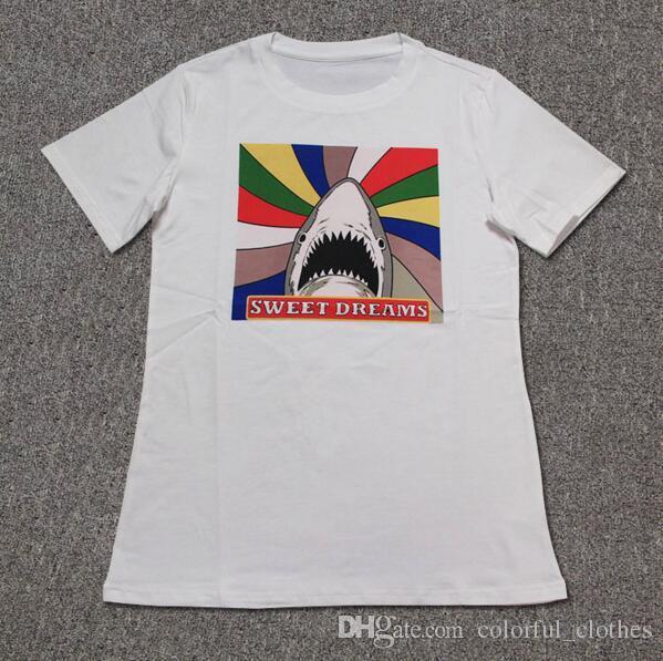 7e91754f Men's Short Sleeve T-Shirt Brand Shark Print T-Shirt Homme Brand 100%  Cotton Hip Hop Tees Shark T-shirt Men Women T-shirt Fashion Men's T-Shirts  Online with ...