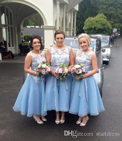 Sexy Baby Blue Tea length Country Organza Bridesmaid Dresses Lace Open Back Short Formal Prom Gown Satin Sash Cheap wedding guest dress 2018