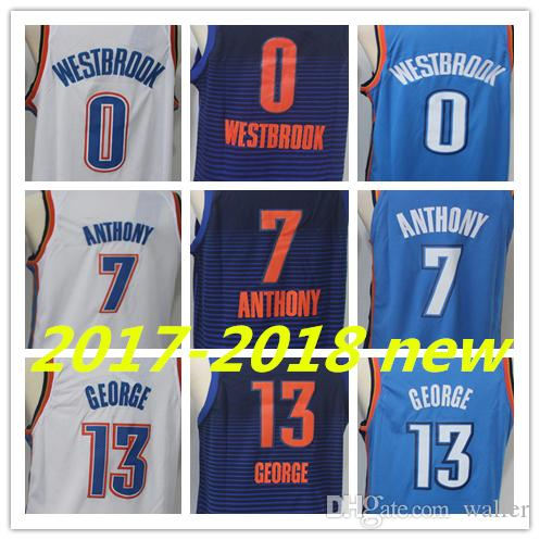 f54d1b7a0560 ... 2018 2018 season basketball jersey mens 0 russell westbrook 13 paul  george 7 carmelo anthony jerseys