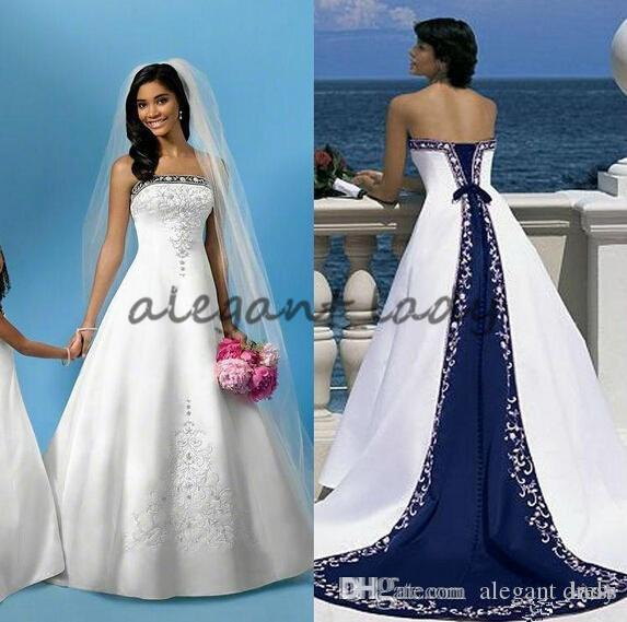 Discount Vintage Two Tone Lace Up Wedding Dresses With Beaded ...