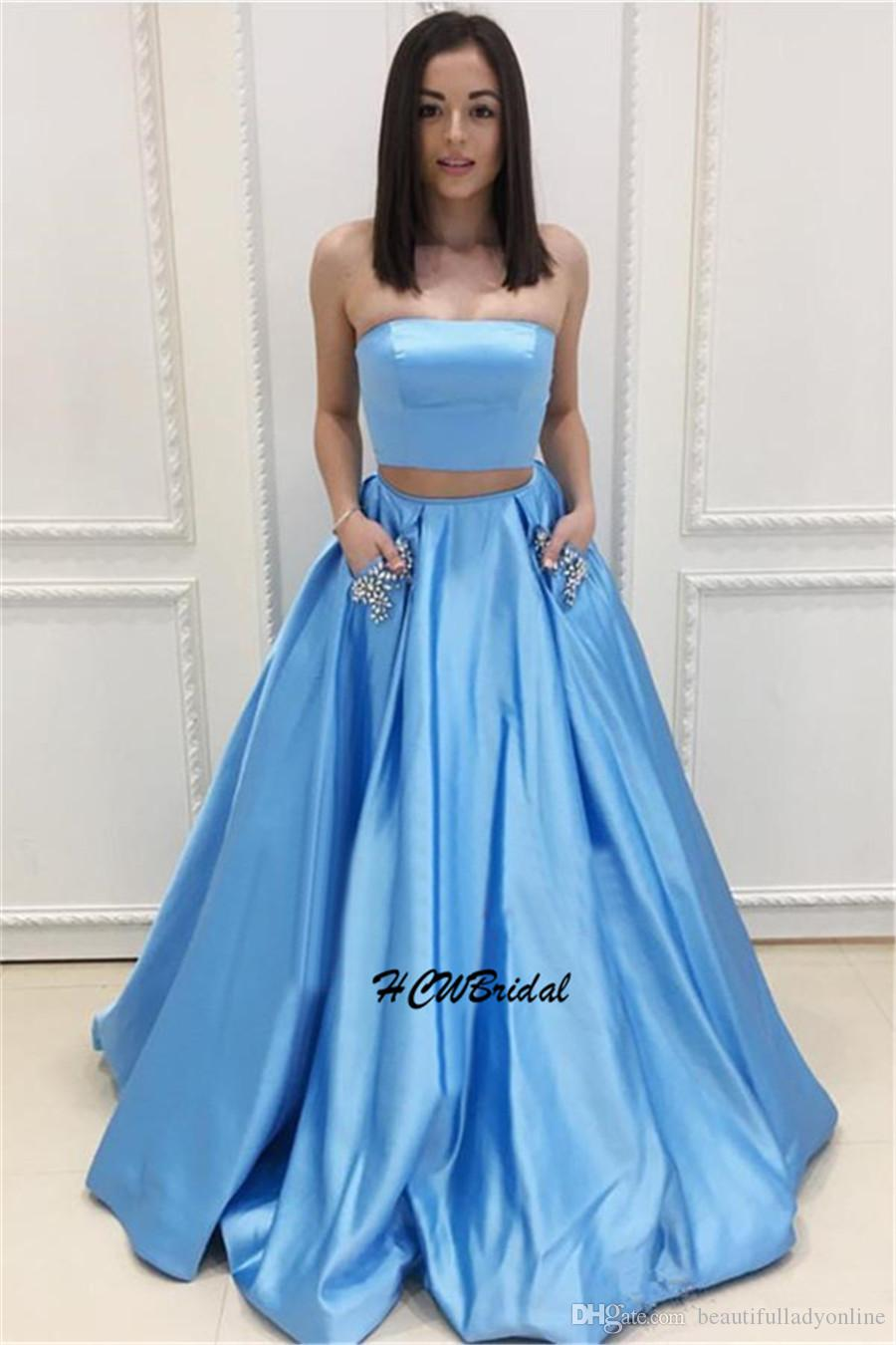 Baby Blue Prom Dresses Strapless Off The Shoulder Crystals Pockets ...
