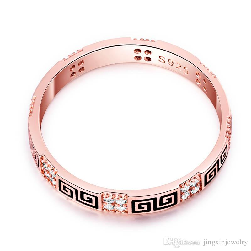 Extra fino 2.5mm Rosa Claro 18K oro lleno de llave griega Claro CZ cola Anillo Mujeres Joyería de La Boda Mujeres Al Por Mayor Al Por Menor para 011732