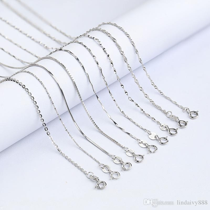 Pure 925 Sterling Silver Chain Necklace for Women Girls 16 inch Weave Box Snake Cross Chain Necklace For DIY necklace Jewelry Wholesale