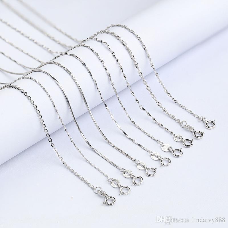 Saf Kadınlar Kızlar Için 925 Ayar Gümüş Zincir Kolye 16 inç Örgü Kutusu Yılan Çapraz Zincir Kolye DIY Kolye Takı Toptan