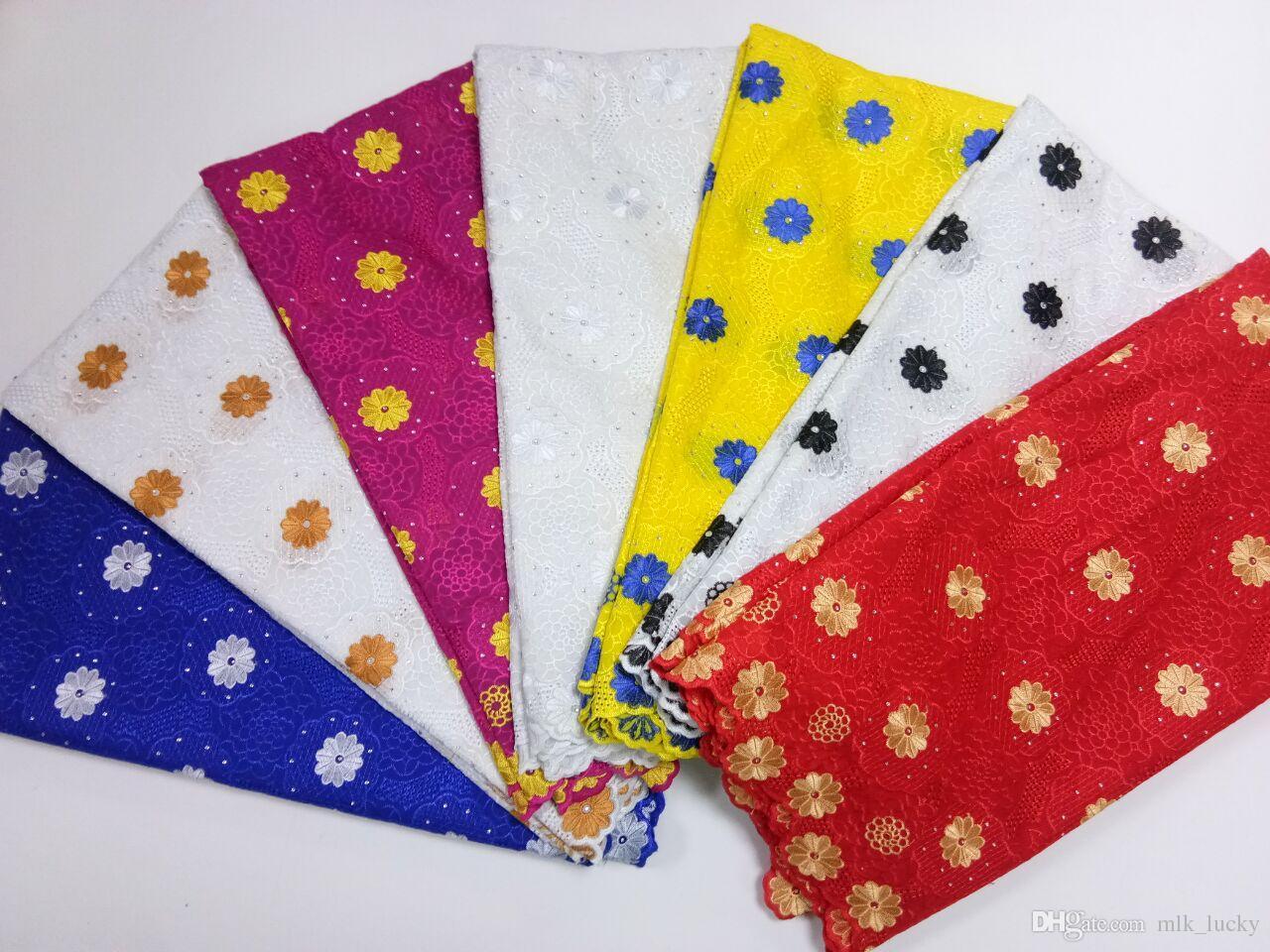 Dentelles africaines tissus de haute qualité voile de dentelle suisse tissu de dentelle blanche avec des pierres 5 mètres pour la fête de mariage
