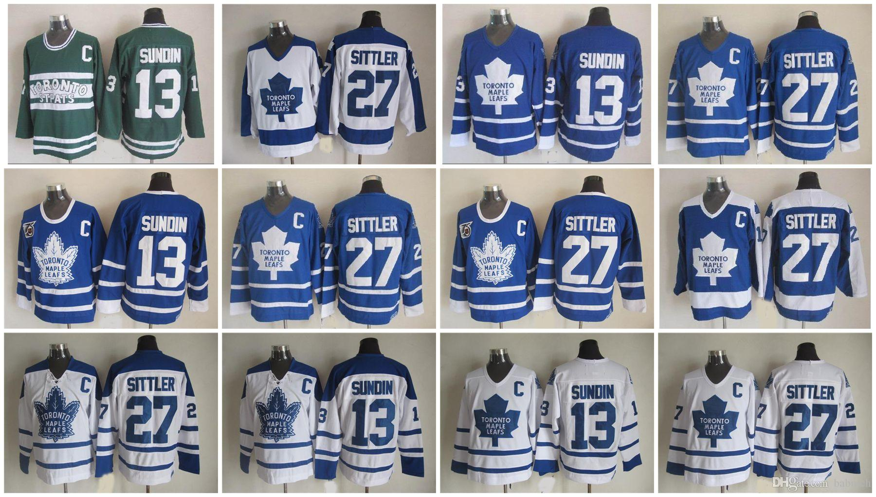 Retro Toronto Maple Leafs Darryl Sittler 75th Anniversary Hockey Jerseys  Vintage Classic 27 Darryl Sittler Jerseys Embroidery C Patch Toronto Maple  Leafs ... d75b499bd