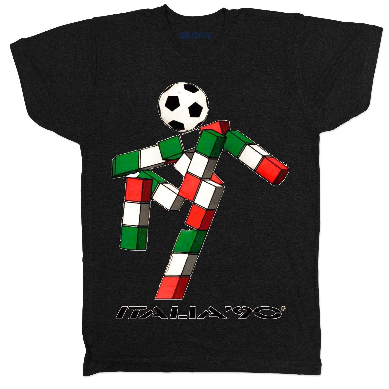 ITALIA 90 FOOTBALL WORLD CUP MASCOT ITALY TUMBLR SOCCER MENS RETRO BLACK T  SHIRT Cartoon T Shirt Men Unisex Create T Shirts Skull T Shirts From  Cls6688520 6acfc0567