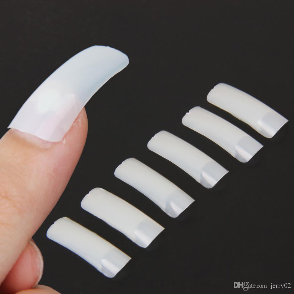 Hot Selling Nude White False Nail Art Design Tips French Acrylic