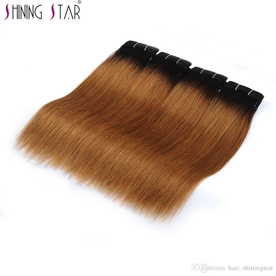 Ombre 4 Bundles Pre Colored Malaysian Straight Hair Deals Dark