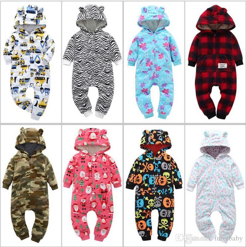 7abea556e 2019 Baby Hooded Rompers Toddler Fleece Romper Newborn Winter ...