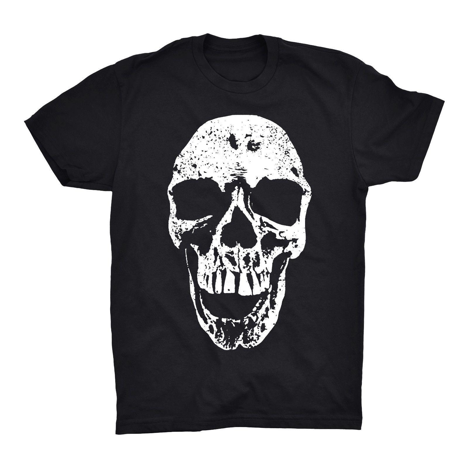 974397a4f0f93 Compre Crânio T Camisa Rosto Cabeça Monstro Ossos De Esqueleto Rocha Do  Motociclista Tatuagem De Rock De Metal De Manga Curta Plus Size T Shirt Da  Camisa Da ...