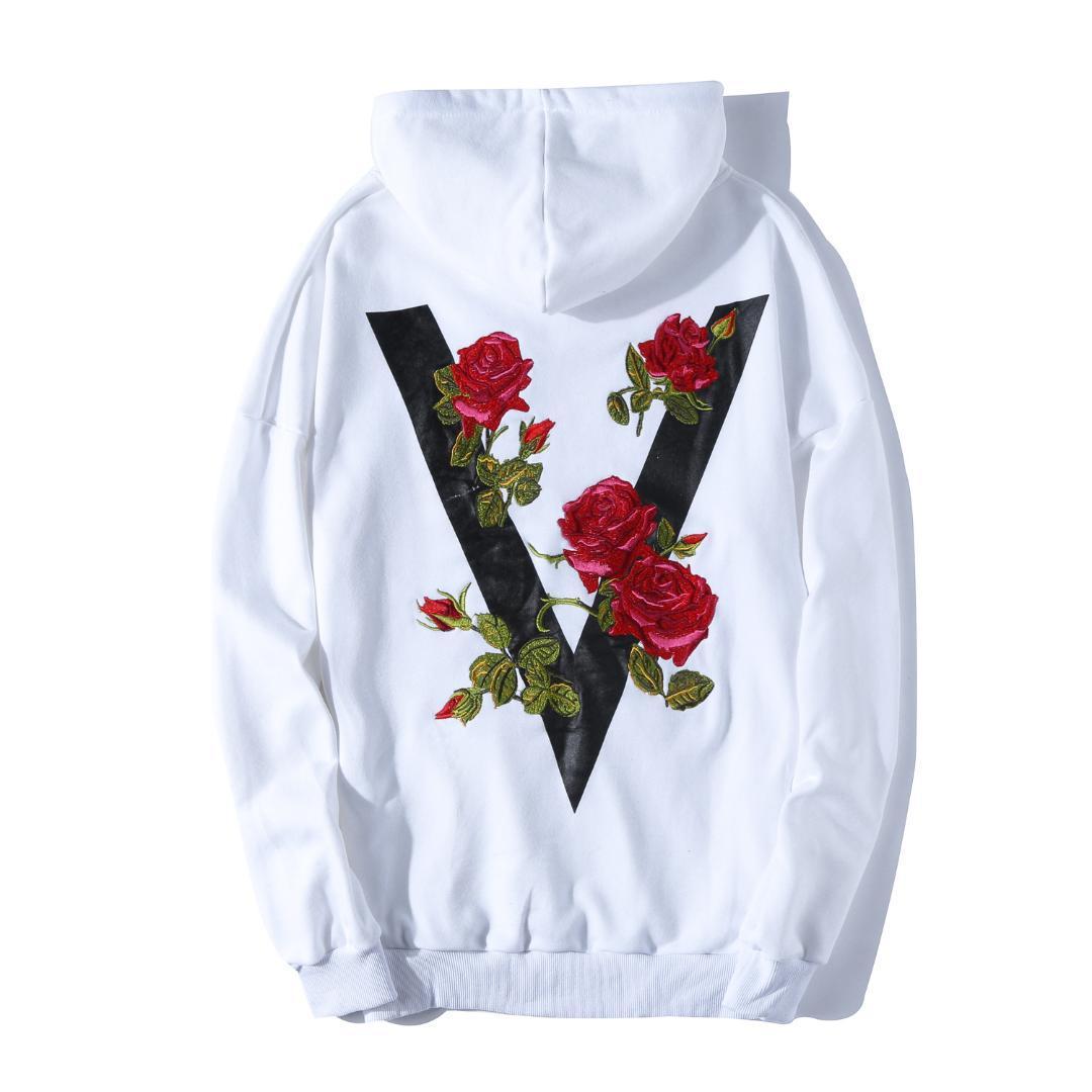 593e74a409 2018 Autumn Street Style Fashion Rose Embroidered Men's Casual Hoodie Black  White European Size