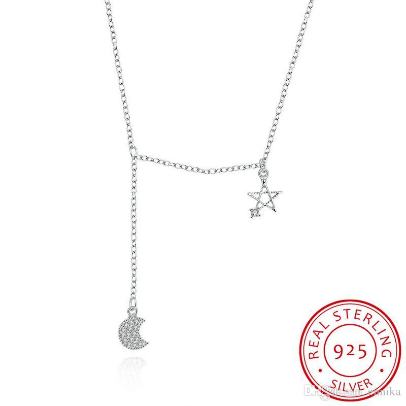 Sterling Silver 925 Necklace Lady Party Jewelry Pure Silver Star Moon Zircon Pendant Necklace n079