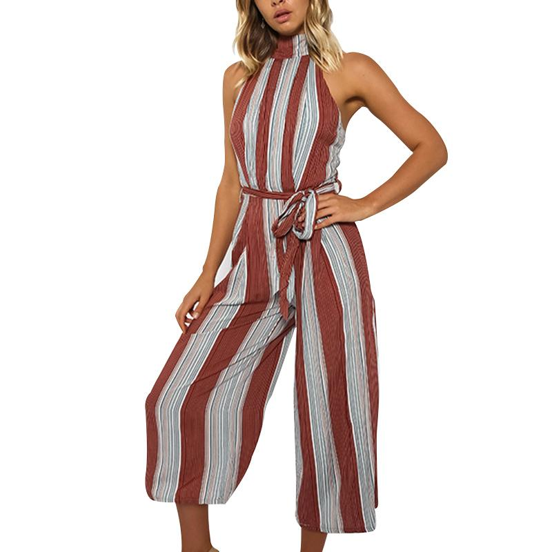 7a85e675fda 2019 Women Summer Beach Girl Red Striped Off Shoulder Jumpsuits Sexy Strap  Long Rompers Playsuits Backless Bow Overalls From Cadly