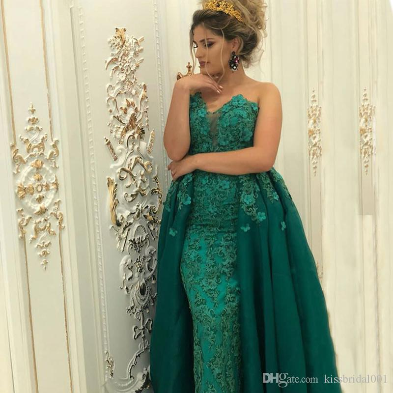 c98fbfbb78f0 2019 Hunter Green Lace Prom Dresses Arabic Dubai Mermaid Formal Evening  Gowns Sweetheart Neck Overskirts African Party Dress Plus Size Formal  Dresses Prom ...
