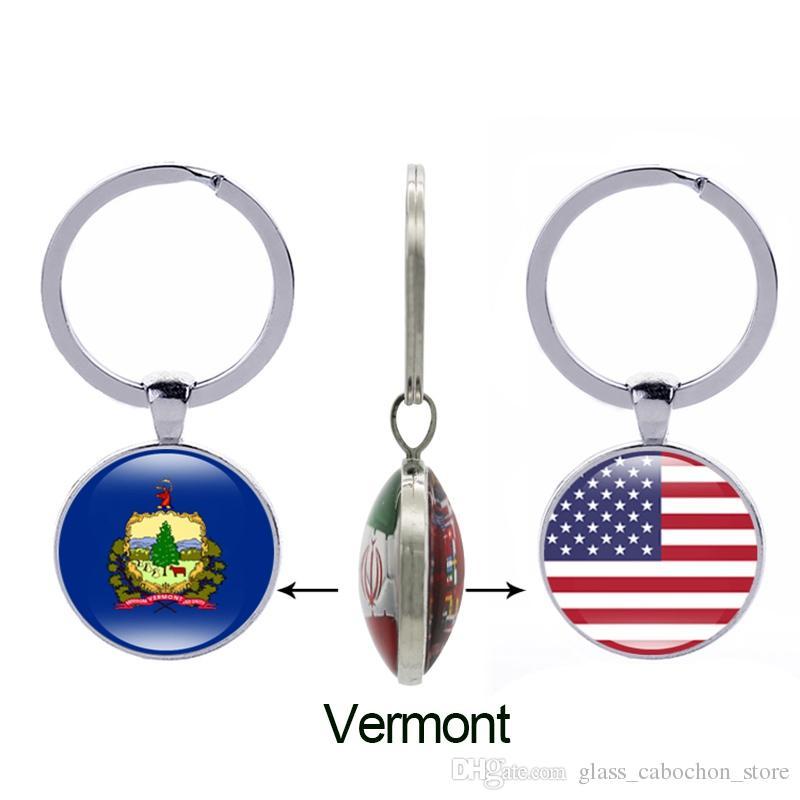 Texas State Flag Keychain Ohio Oklahoma Oregon Virginia Amerika 50 Staaten Glass Double Side Schlüsselanhänger Frauen Männer Geschenke Schmuck Großhandel