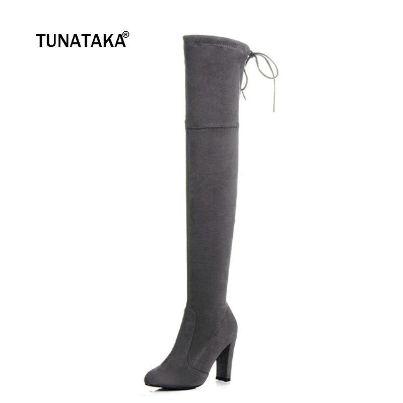 b224122cb8c Women Micro Suede Over The Knee Boots Sexy Party Stretch Thigh High Boots  Heels Shoes With Back Lace Up Black Dark Grey Hiking Boots Shoes For Women  From ...