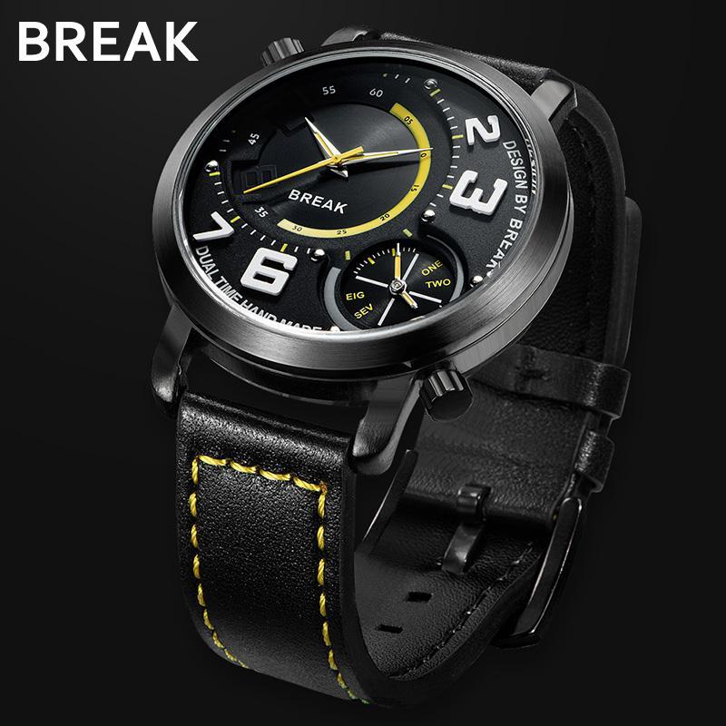 b3fe42f59ca Compre Ruptura Homens Duplo Movimento De Quartzo Relógios Moda Casual Homem  Relógio De Couro Esporte Simples Fusos Horários Múltiplos Masculino Relógios  De ...