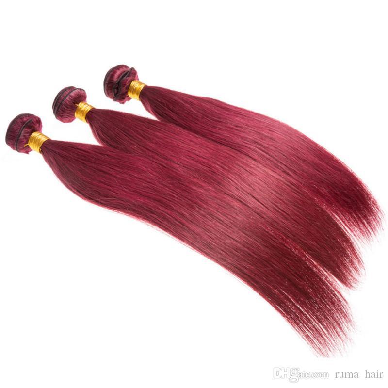 # 99j Burgrundy color brasileño peruano indio de calidad superior Remy extensión del cabello humano onda recta cabello humano 3 paquetes doble trama