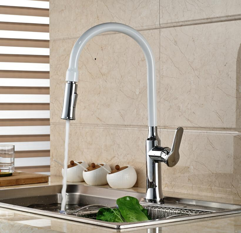 Online Cheap White Painting Solid Brass Kitchen Faucet Swivel Spout ...