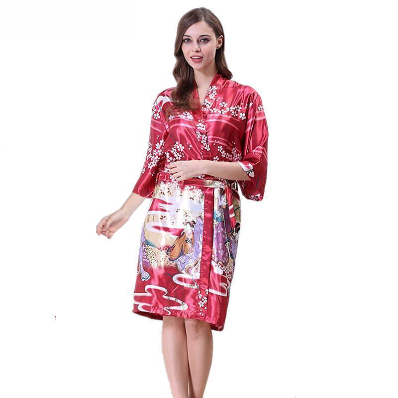 b09a8846ef9c 2019 Purple Women Robe Hot Sale Summer Kimono Bathrobe Gown Female Sexy  Sleepwear Nightgown Novelty Print Nightwear S M L XL WP35 From Sweatcloth