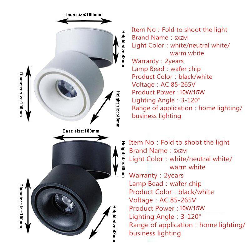 SXZM 10 W 15 W led downlight Superfície montada Ajustável 90 graus Spot light 360 Rotatable led lamp for indoor Foyer, Hall