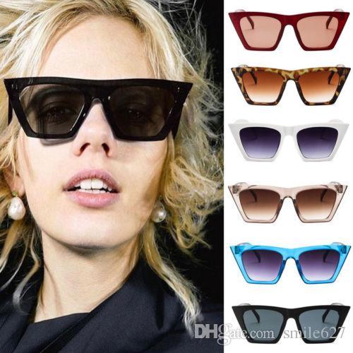 133d5eecc895 2018 New Vintage Retro Women Cat Eye Sunglasses Fashion Shades Oversized  Glasses Cheap Designer Sunglasses Sunglasses From Smile627