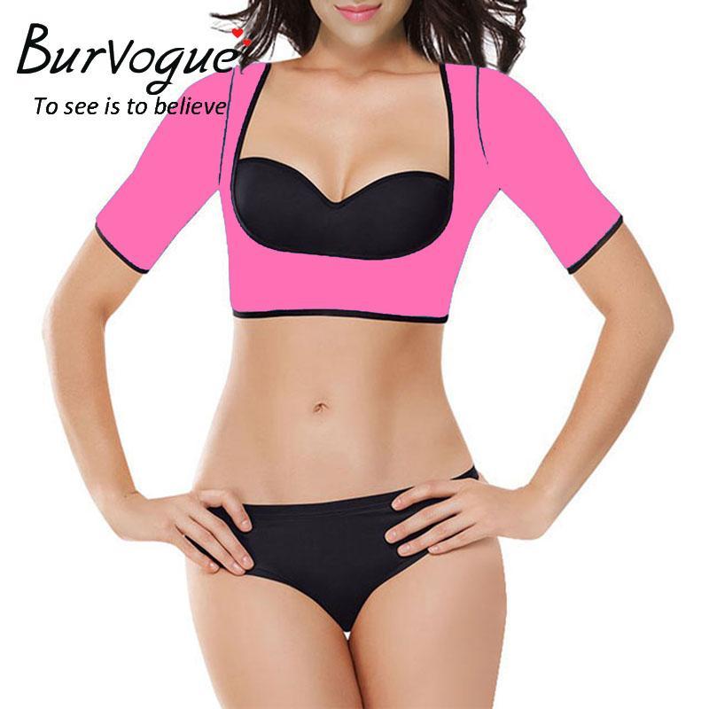 55e13e3bbe 2019 Burvogue Women Shapers Neoprene Sauna Slimming Waist Trainer Vest Arm  Shaper Short Sleeve Shapewear Push Up Crop Top Body Shaper From  Eventswedding