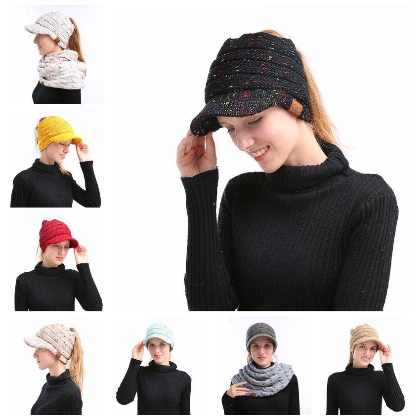 777ed1cbfac CC Beanies Hats Winter Knitted Cap With Yarn Brim Ponytail Messy Bun ...