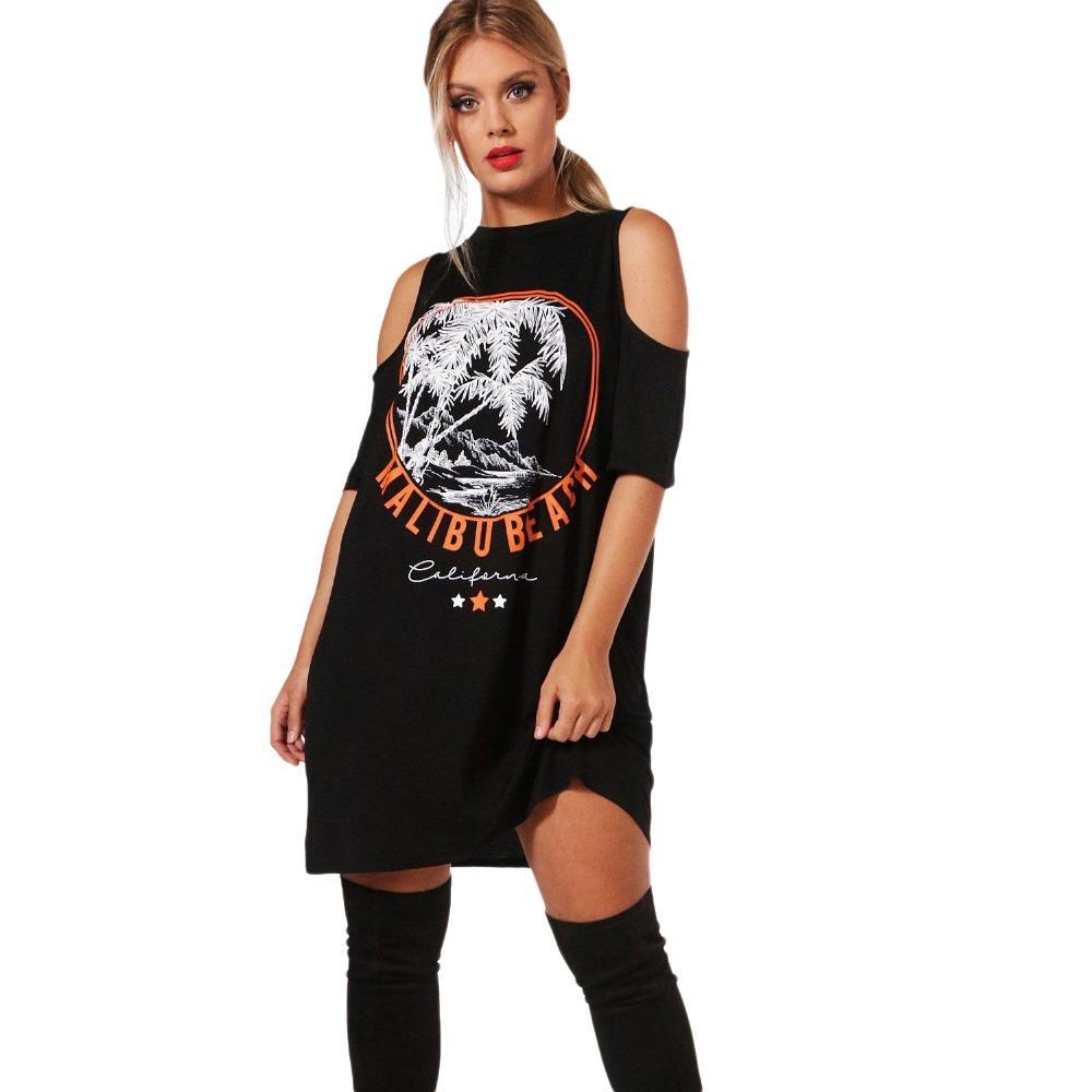 2019 Plus Size Big Size Black Printed Off The Shoulder Dresses Women